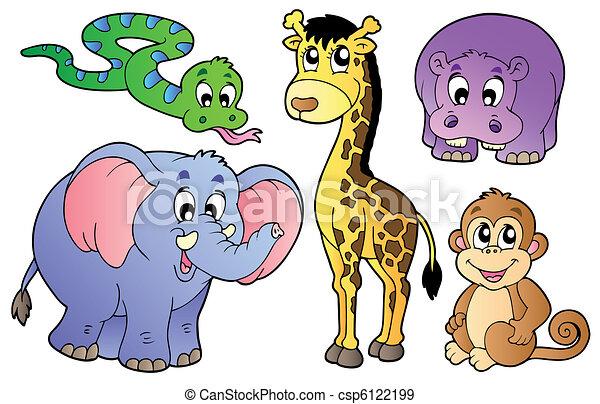 sprytny, komplet, zwierzęta, afrykanin - csp6122199