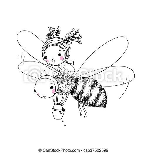 sprytny, mały, wróżka, pszczoła - csp37522599