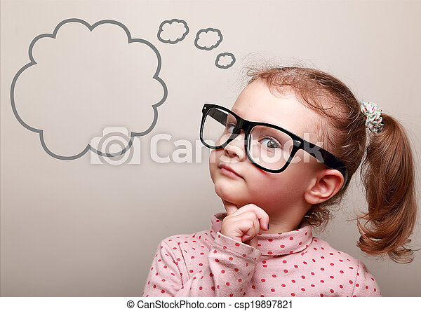 sprytny, myślenie, patrząc, dziewczyna, okulary, bańka, opróżniać, koźlę - csp19897821