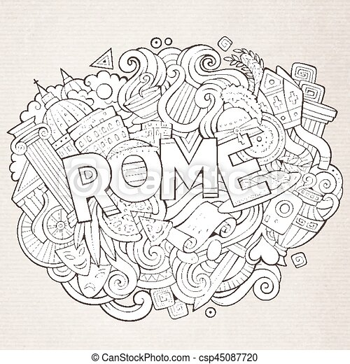 sprytny, napis, ręka, rzym, doodles, pociągnięty, rysunek - csp45087720