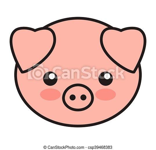 sprytny, odizolowany, świnia, zwierzę, konserwator, ikona - csp39468383