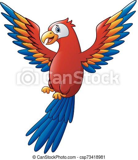sprytny, ptak, rysunek, ara, przelotny - csp73418981
