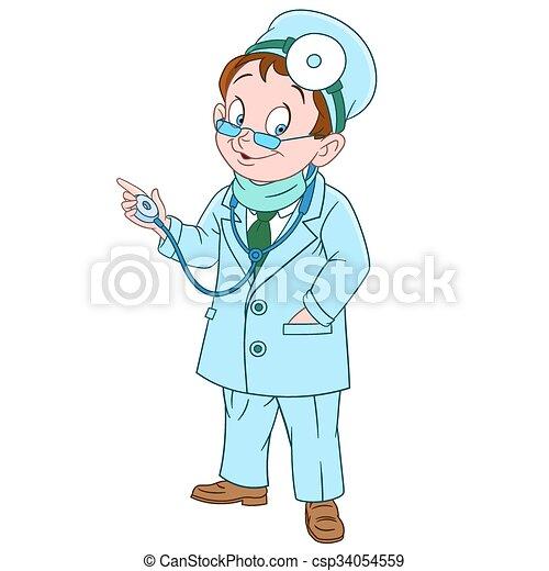sprytny, rysunek, doktor - csp34054559