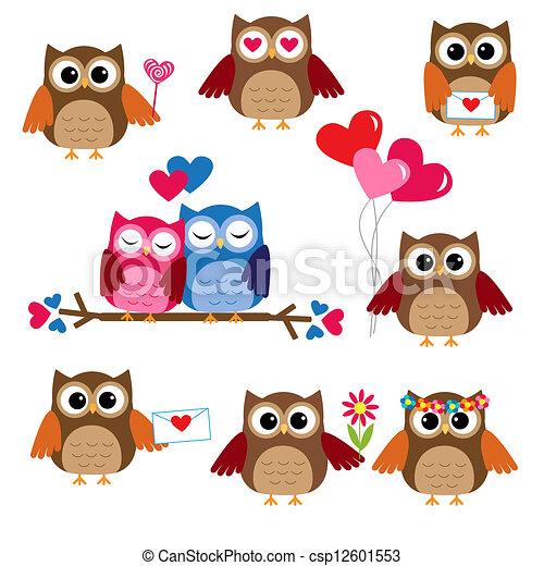 sprytny, sowy, dzień, valentine - csp12601553