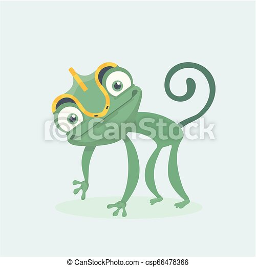 sprytny, wektor, illustration., chameleon. - csp66478366