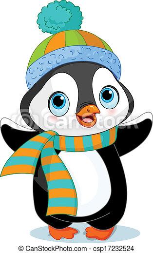 sprytny, zima, pingwin - csp17232524