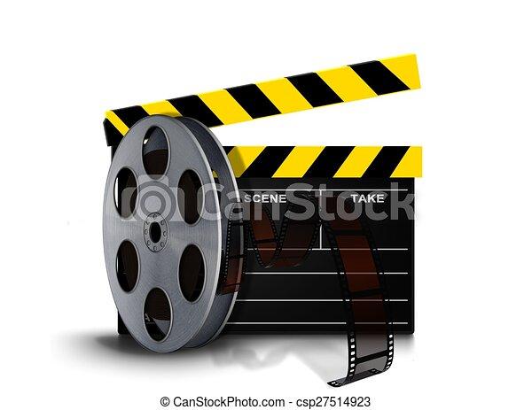 spule, rolle, film, clapperboard - csp27514923