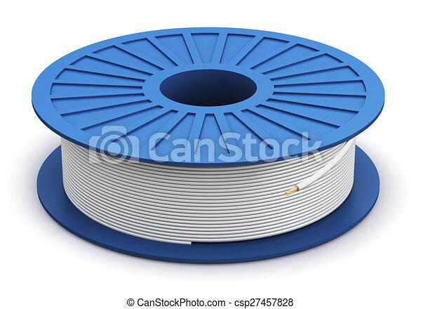 Spule, weißes, macht, elektrisch, kabel. Blaues, kupfer,... Clipart ...