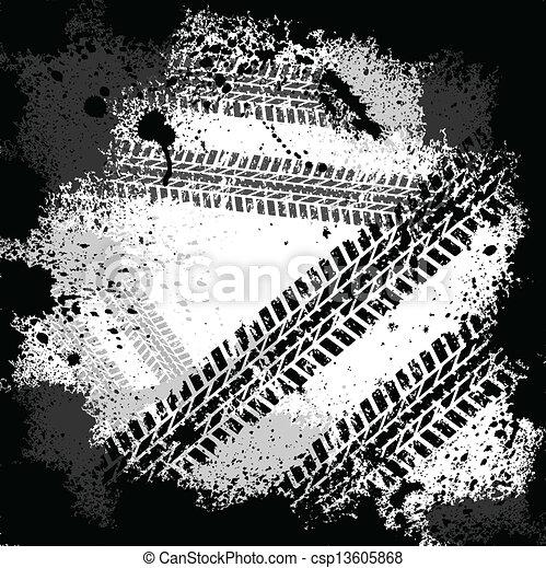 Tinte befleckt Reifenspuren - csp13605868