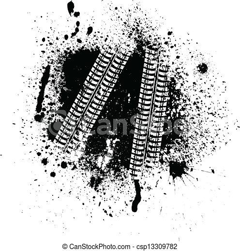 Tintenflecken und Reifenspuren - csp13309782