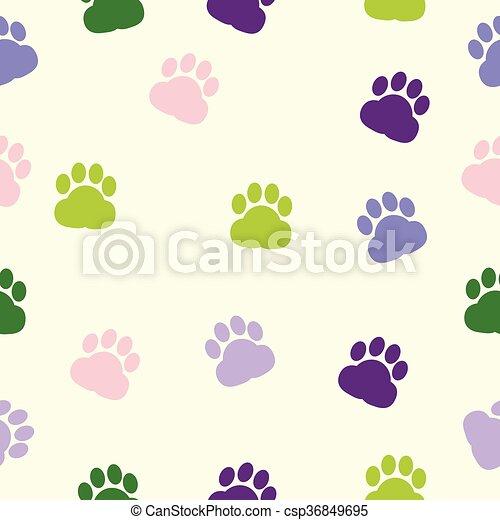 Spur, farbe, muster, hundepfoten, tier, annahme, druck EPS Vektoren ...