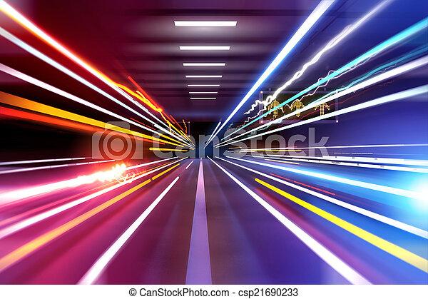 spuren, licht, auto - csp21690233