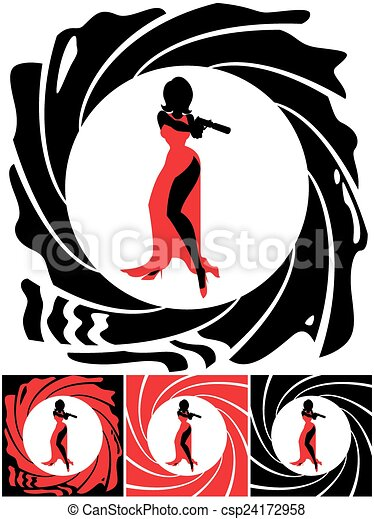 spy female silhouette of female secret agent illustration rh canstockphoto com secret agent clipart black and white secret agent clipart