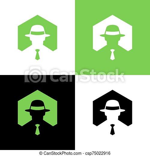 spy logo design template elements mafia or gangster symbol can stock photo