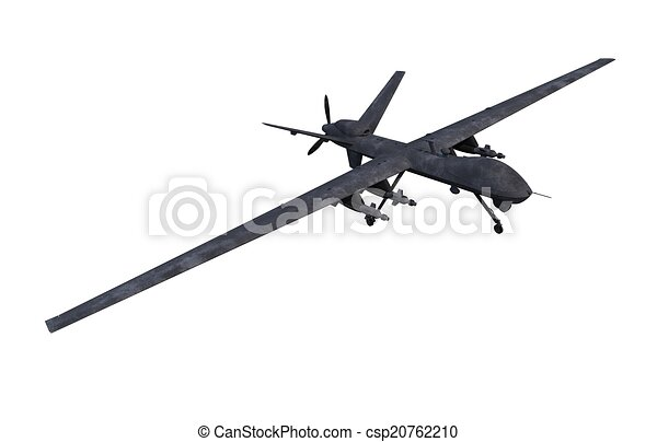 Clipart Of Spying Military Drone Isolated On White Background