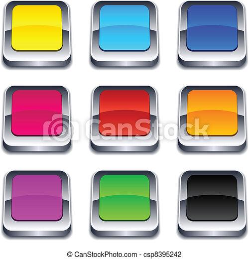 square 3d buttons. - csp8395242