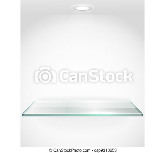 Square advertising glass board with a spot lignt. Place your text on it - csp9318653