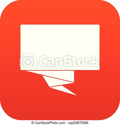 Square banner icon digital red - csp54870066