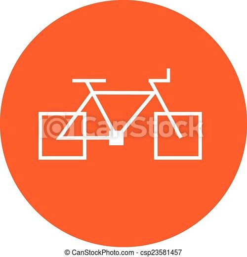 square bicycle orange icon sign - csp23581457