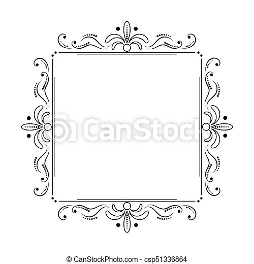 Square black elegant frame with swirls and dots. Square vector black ...