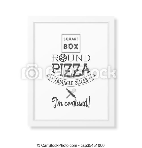 Square box round pizza triangle slices I am confused - Quote typographical Background - csp35451000