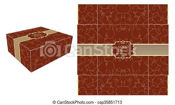 Square brown cake box. Cake box template, design, and square ...