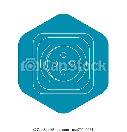 Square button icon, outline style - csp72249061