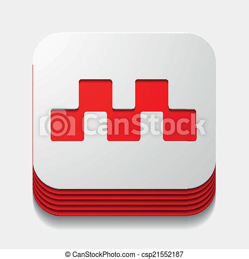 square button: taxi - csp21552187