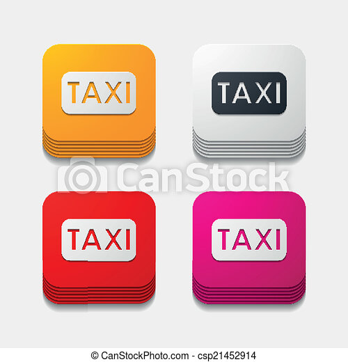 square button: taxi - csp21452914