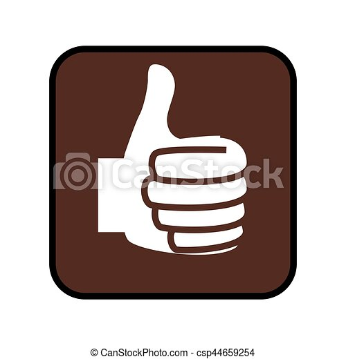 square button with Thumb up icon - csp44659254