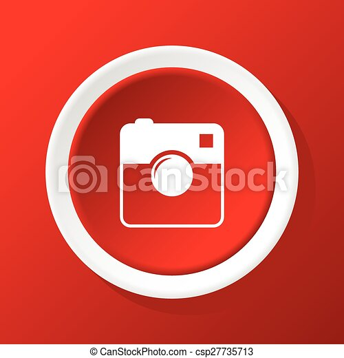 Square camera icon on red - csp27735713