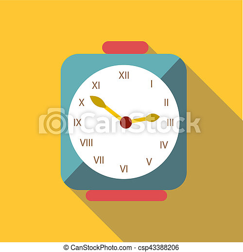 Square clock icon, flat style - csp43388206