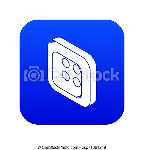 Square clothes button icon blue - csp71861249
