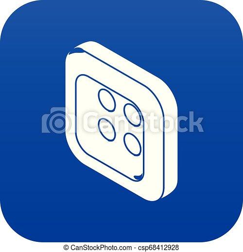 Square clothes button icon blue vector - csp68412928