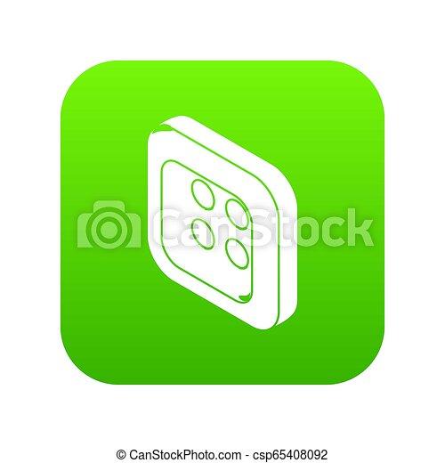 Square clothes button icon green - csp65408092