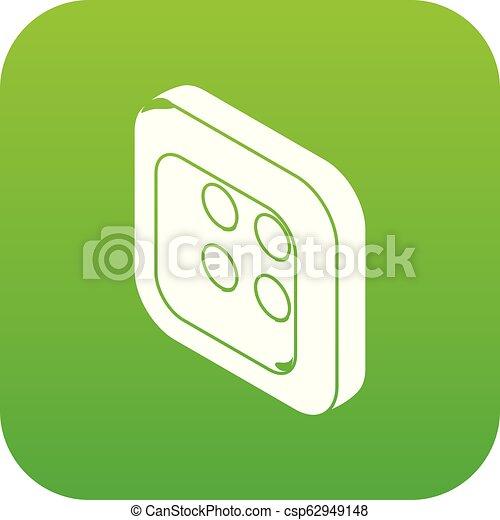 Square clothes button icon green vector - csp62949148