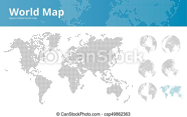 Square dotted world map and earth globes showing all continents square dotted world map and earth globes showing all continents csp49862363 gumiabroncs Images