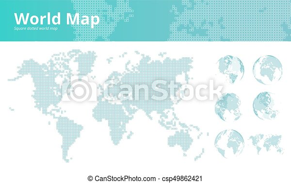 Square dotted world map with earth globes vector illustration square dotted world map with earth globes csp49862421 gumiabroncs Gallery