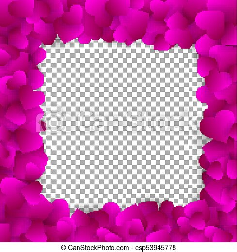 Square elegant frame made of cute pink paper hearts, isolated on ...