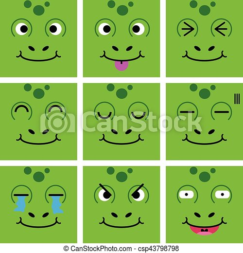 Square emotion face of Green Frog vector with isolated - csp43798798
