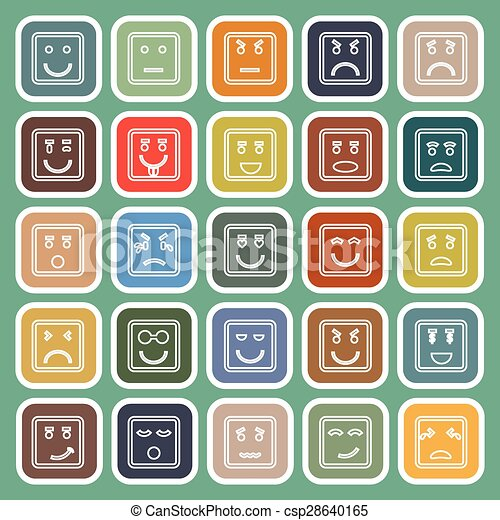 Square face line flat icons on green background - csp28640165