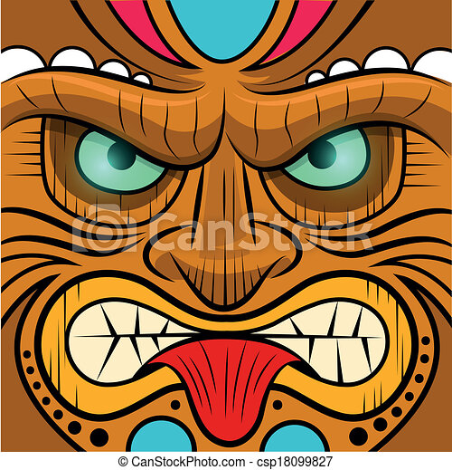 Square faced tiki mask - vector illustration.