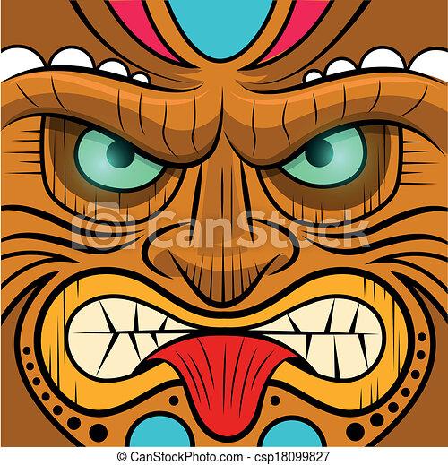 Square faced tiki mask - vector illustration.