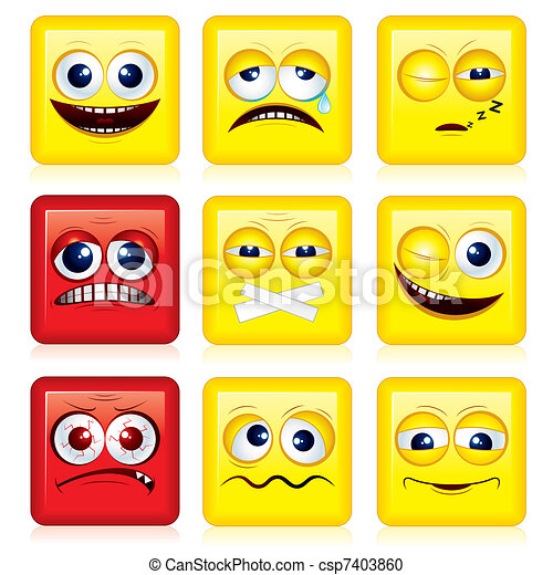 Square Faces Shaped Yellow Smileys Vector Icon Set