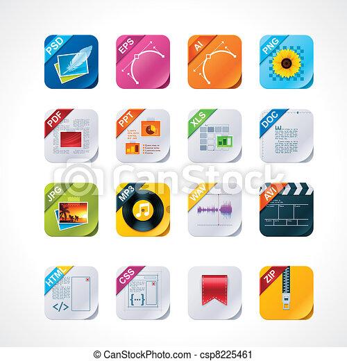 Square file labels icon set - csp8225461