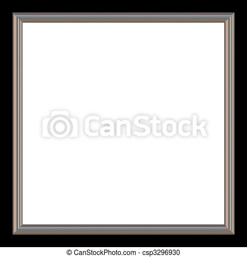 Square frame. Silver and black square photo frame and white copyspace.