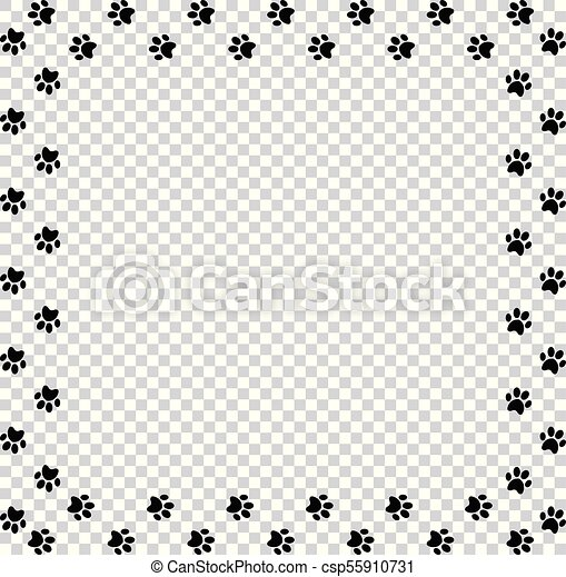 Square frame made of black animal paw prints on transparent ...