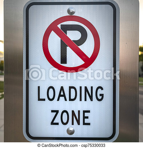 Square frame No Parking road sign on a street - csp75330033