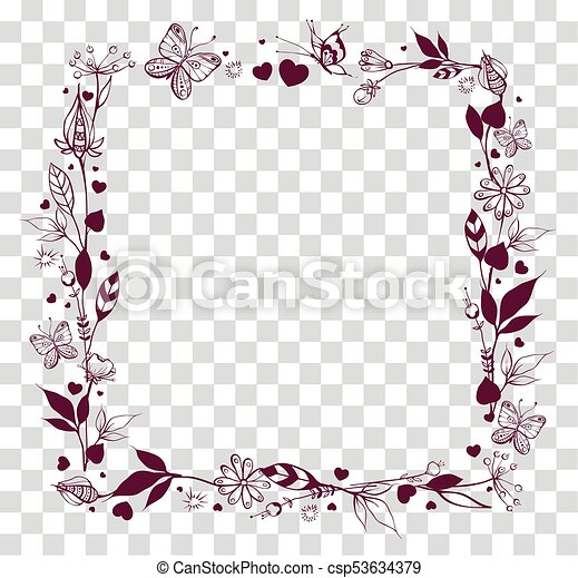 square frame of abstract flowers and leaves on transparent
