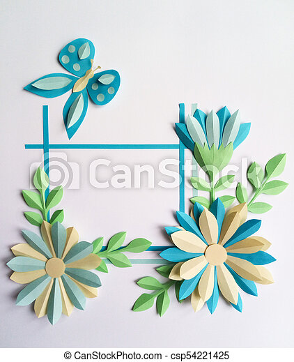 Square frame with blue color paper flowers and butterfly nature square frame with blue color paper flowers and butterfly nature floral concept cut from paper flower place for your text mightylinksfo
